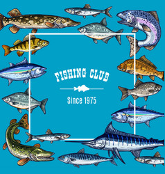 Sketch poster template for fishing club vector