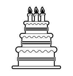 sketch silhouette image cake with cream and vector image vector image