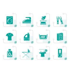 Stylized washing machine and laundry icons vector
