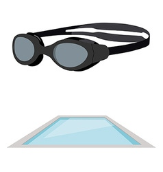 Swimming pool and goggles vector