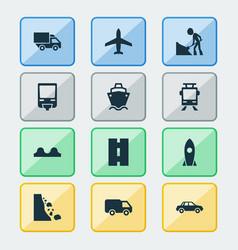 Transport icons set with railroad landslide way vector