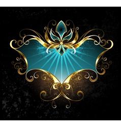 Turquoise Banner with Fleur De Lis vector image vector image