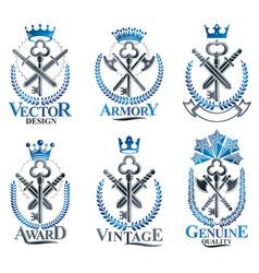 Vintage weapon emblems set vintage design vector