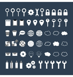 White business icons set over blue vector image