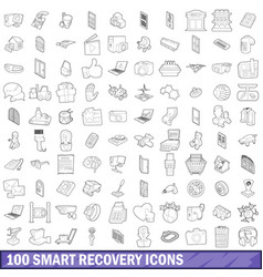 100 smart recovery icons set outline style vector