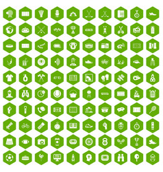 100 sport journalist icons hexagon green vector