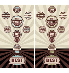 Set badges quality open close and sale vector