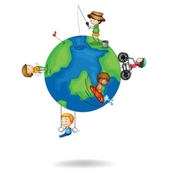 Kids playing on earth globe vector