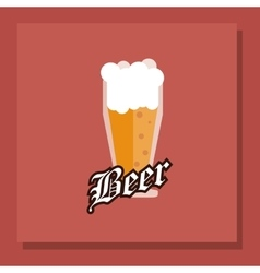 Glass of beer emblem image vector