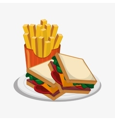 Sandwich and french fries design vector