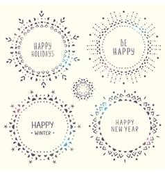 set of amazing snowflakes vector image