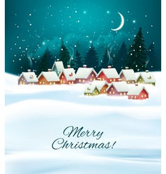 Winter village night Christmas background vector image