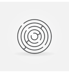 Trendy round maze outline icon vector