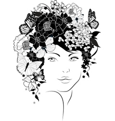 The beautiful girl with flowers in hair vector