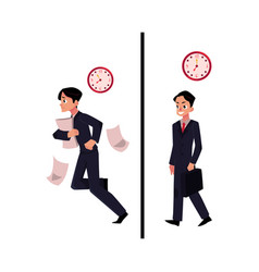 Businessman manager in business suit hurrying vector