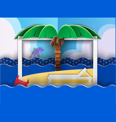 paper cut beach vector image