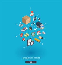 Logistic integrated 3d web icons digital network vector