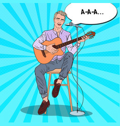 Man playing on guitar and singing song pop art vector
