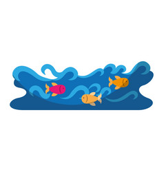 Waves river isolated icon vector