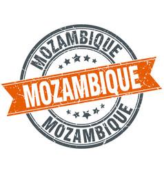 Mozambique red round grunge vintage ribbon stamp vector