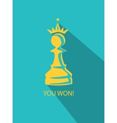 Pawn in crown flat vector