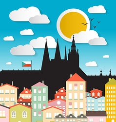 Flat design prague castle - the cathedral of vector