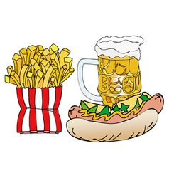 beer hot dogs and french fries vector image