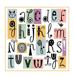 Whimsical english alphabet cute stylish letters vector