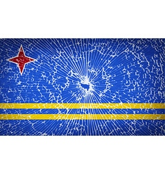 Flags aruba with broken glass texture vector