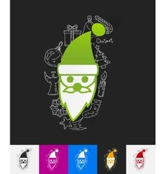 Santa claus paper sticker with hand drawn elements vector