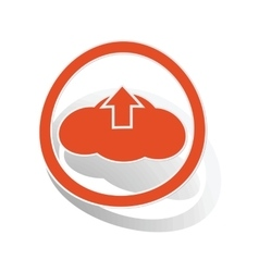 Cloud upload sign sticker orange vector