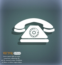 Retro telephone icon on the blue-green abstract vector
