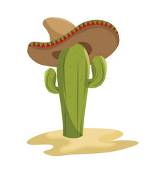 Animated sketch cactus with mexican hat in desert vector