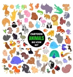 Big set of cute cartoon animal icons isolated on vector image