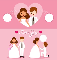 Black skin bride and groom in wedding clothing set vector
