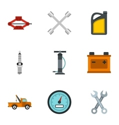 Car repairs icons set flat style vector