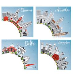 Chennai mumbai delhi and bangalore city skyline vector
