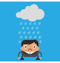 Cloud raining on business man vector