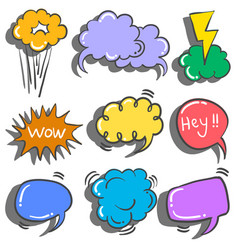 Collection stock of text balloon style doodles vector