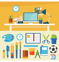 Education and equipment banner flat design vector
