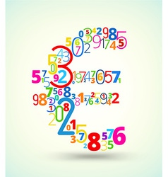 Euro sign colored font from numbers vector