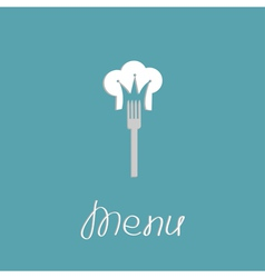 Fork and chef hat shape of crown menu cover flat vector