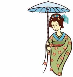 geisha umbrella vector image