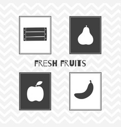Hand drawn silhouettes fruit posters vector