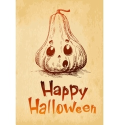 Happy halloween pumpkin jack o lantern drawn in a vector