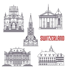 Historic buildings and sightseeings of switzerland vector