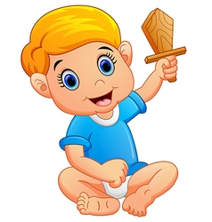 kid holding a wooden knife vector image vector image