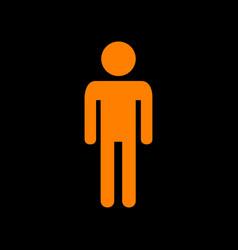 Man sign orange icon on black vector