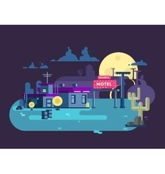Motel night flat design vector image