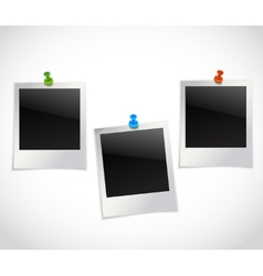 Photo frames with pushpins vector image vector image